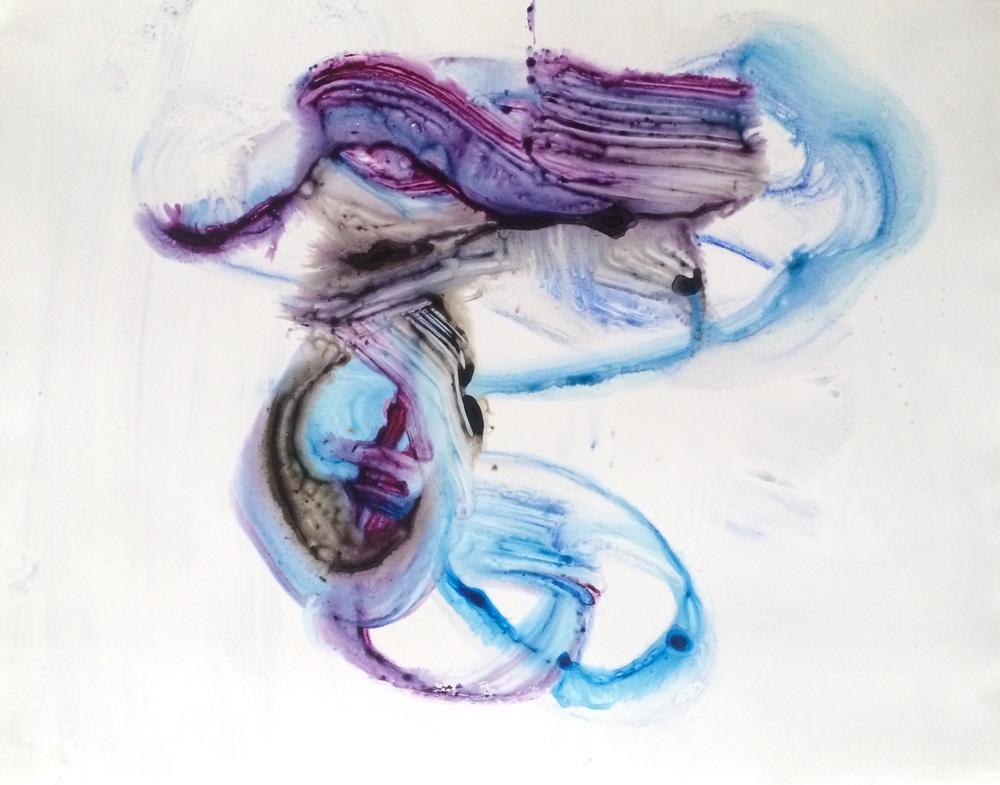 "Hover, 2016   Acrylic on Yupo, 19"" x 25"""