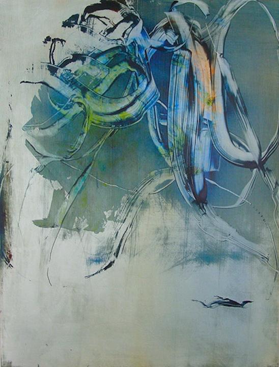 "Negative Space, 2011   Acrylic on Yupo, 25"" x 19"""
