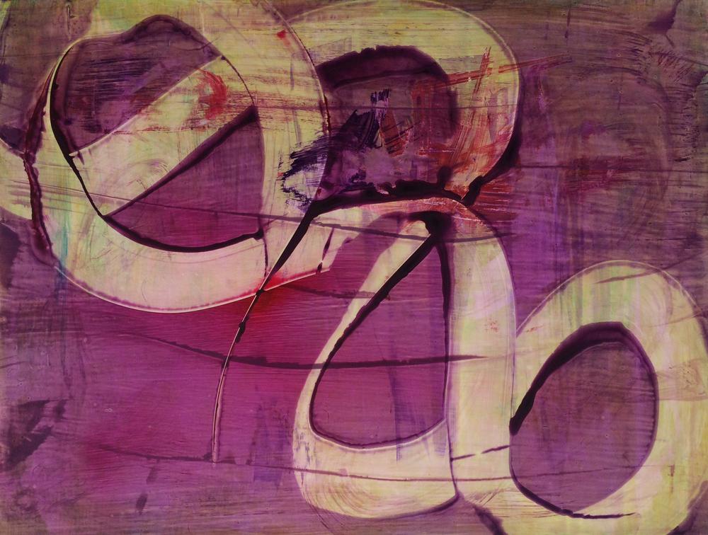 "Tango, 2015   Acrylic on Yupo, 19"" x 25"""