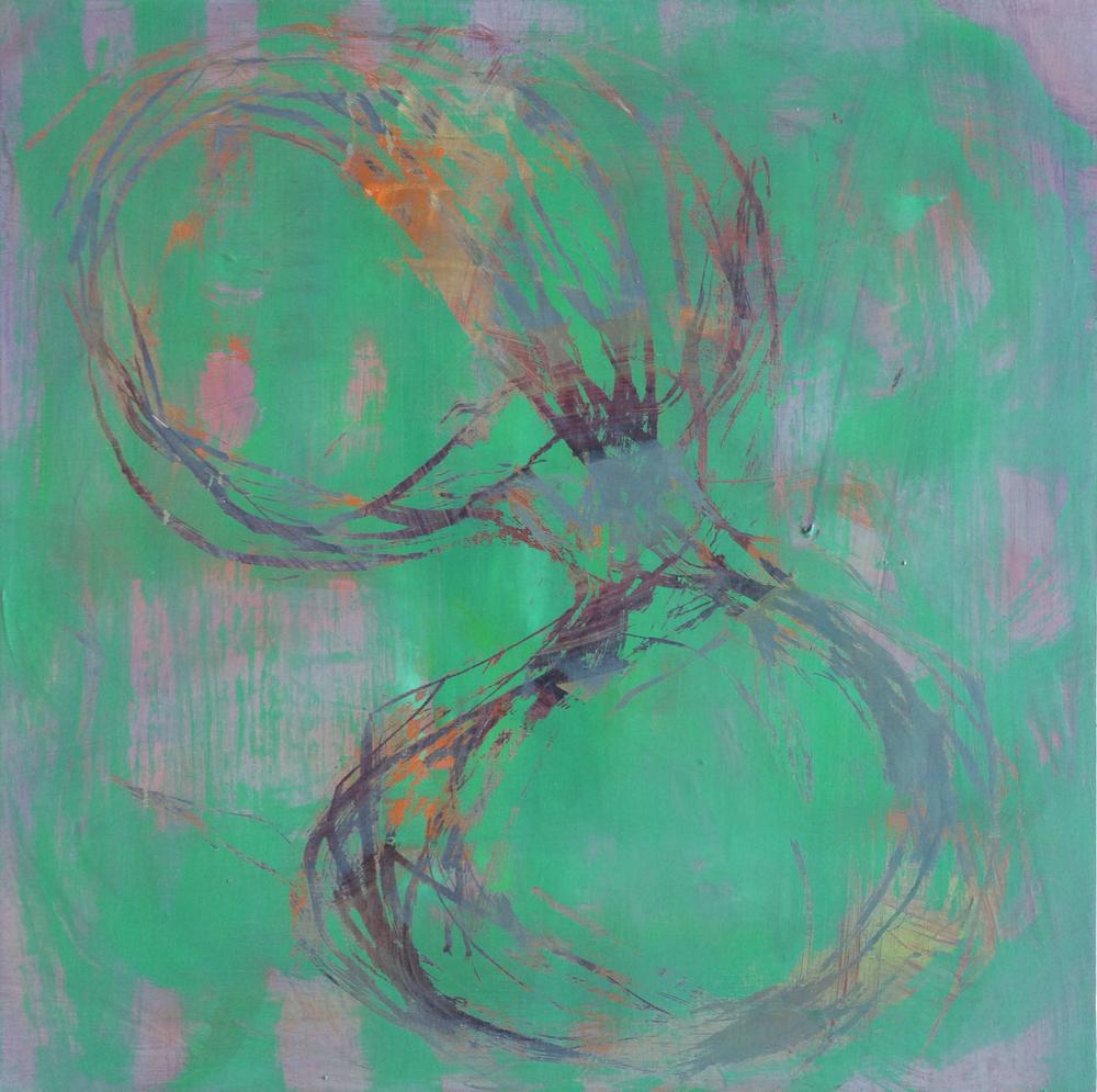 "Scratch, 2015    Acrylic on wood panel    12"" x 12"""
