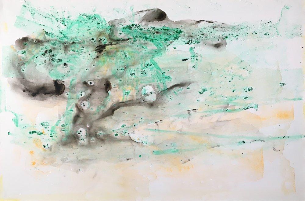 "Drift, 2016   Acrylic on Yupo, 25"" x 38"""
