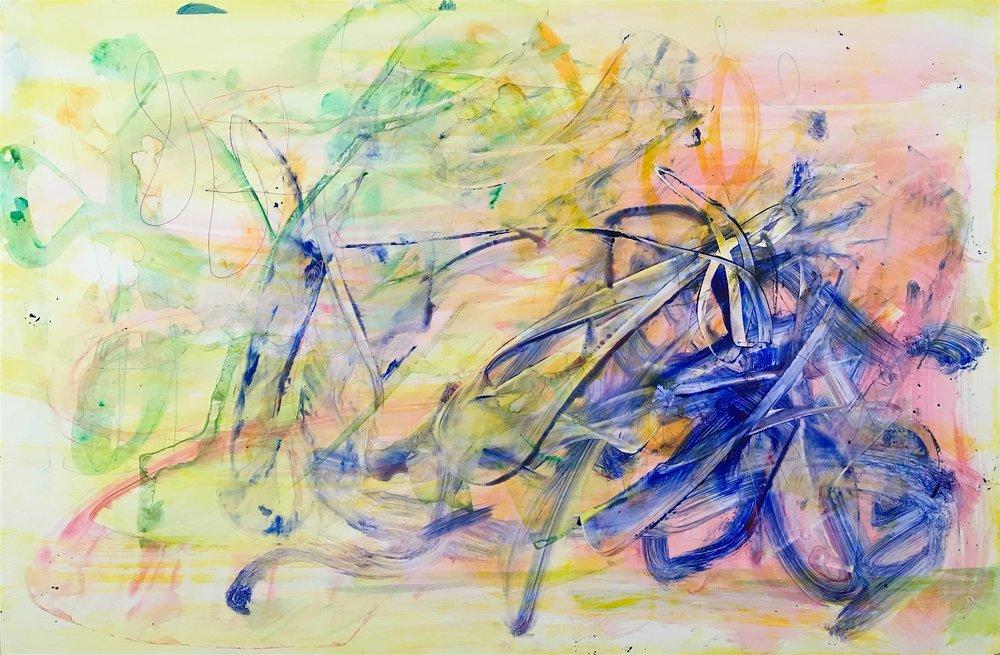 "Trigger, 2016   Acrylic on Yupo, 25"" x 38"""