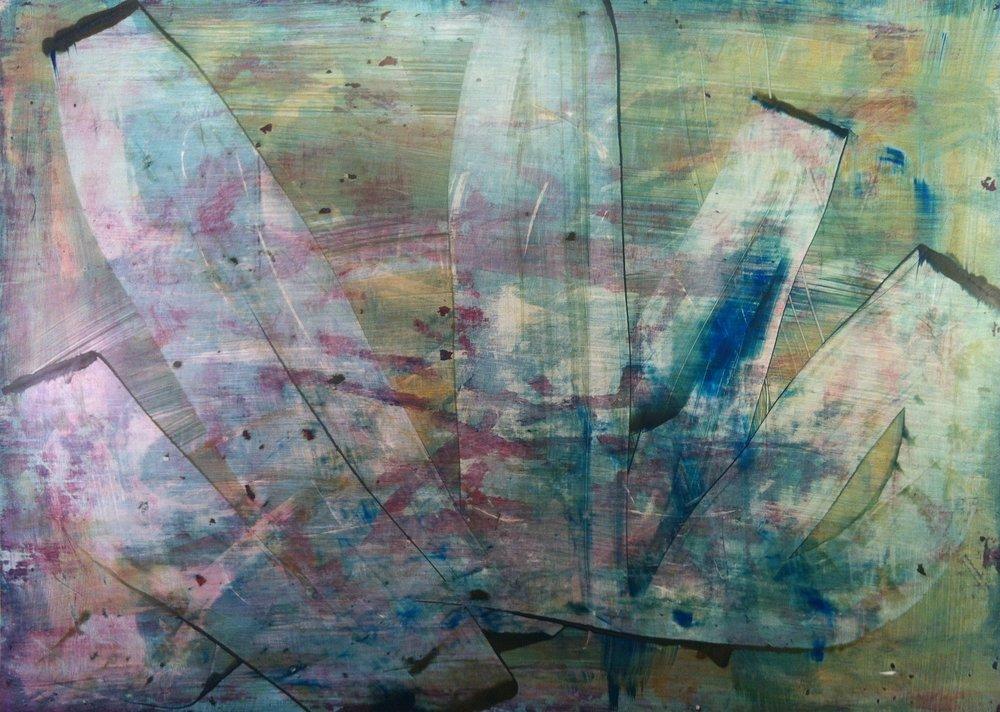"Lotus, 2012 Acrylic on Yupo, 20"" x 28"""