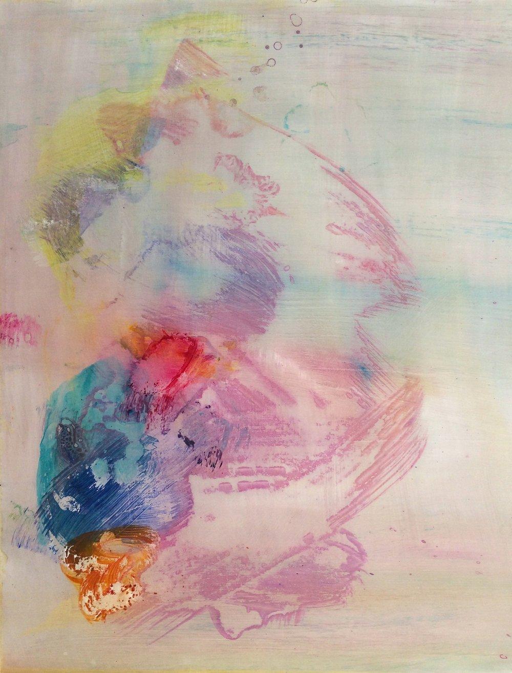 "Cloudbusting, 2014   Acrylic on Yupo, 25"" x 19"""