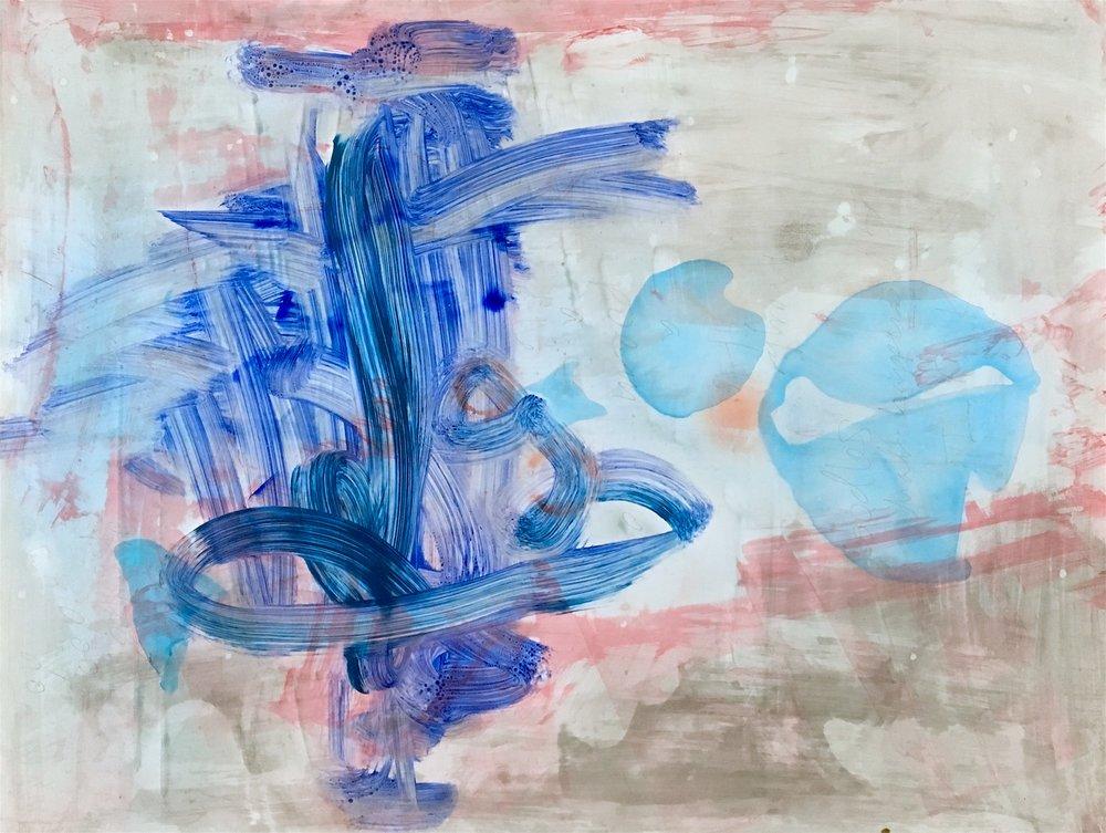 "Speak, Memory, 2017 Watermedia on synthetic paper, 19"" x 25"""