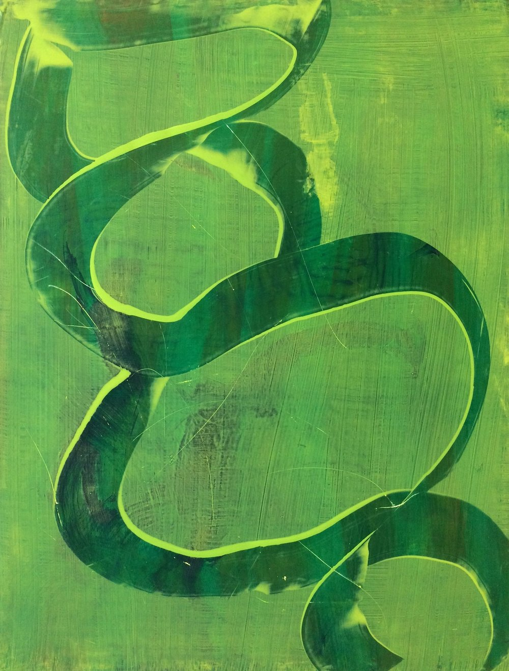 "Glow, 2014   Acrylic on Yupo, 25"" x 19"""