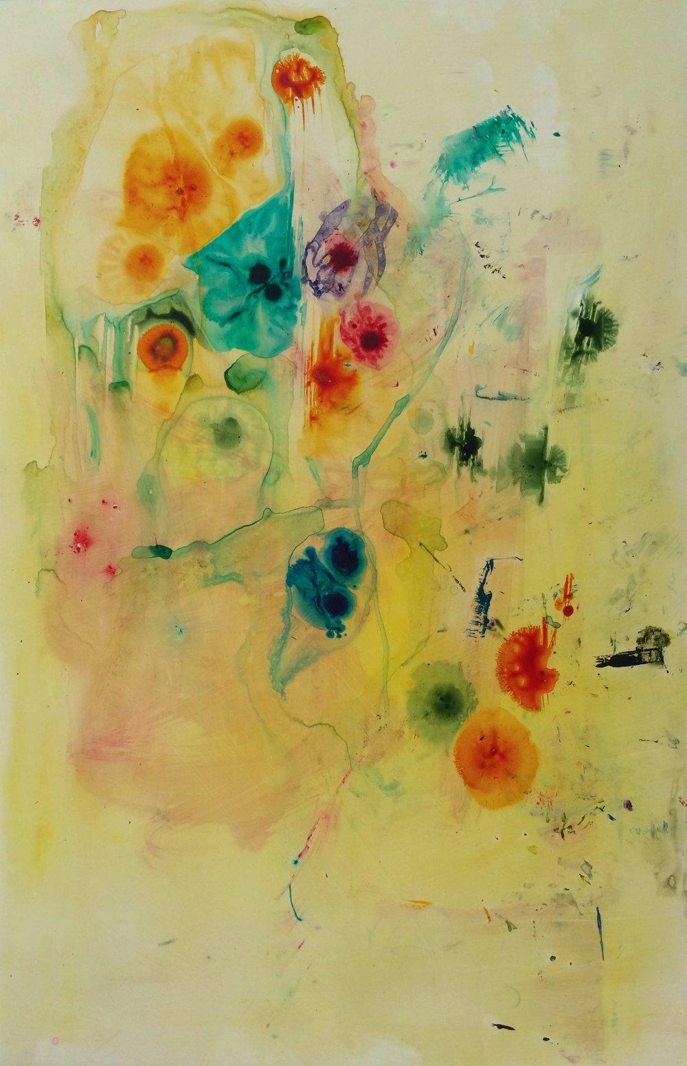 "Yellow Submarine, 2014   Acrylic on Yupo, 38"" x 25"""