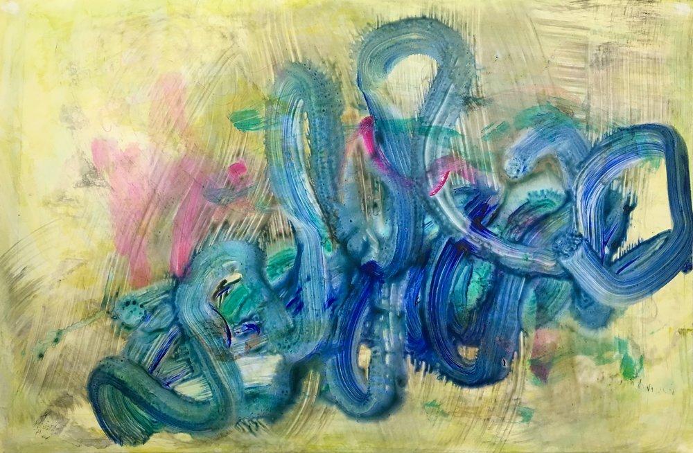 "Spring  Acylic on paper 25"" x 38"""
