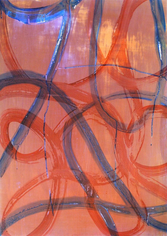 "Loop Drop, 2013   Acrylic on Yupo, 28"" x 20"""