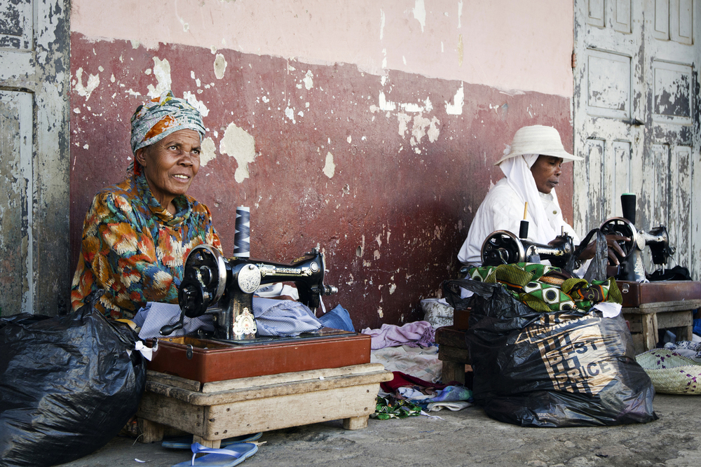 I passed these two ladies every day I was in Ambovombe. In the morning, they would set up their machines, haul out the bags of projects, and set to work, sewing until it grew dark.