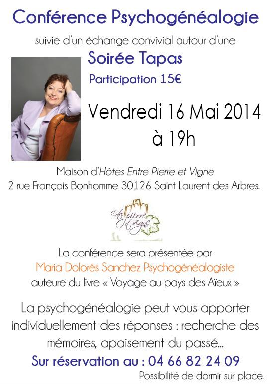 """Affiche de la conférence """"psychogénéalogie et hypnose"""""""