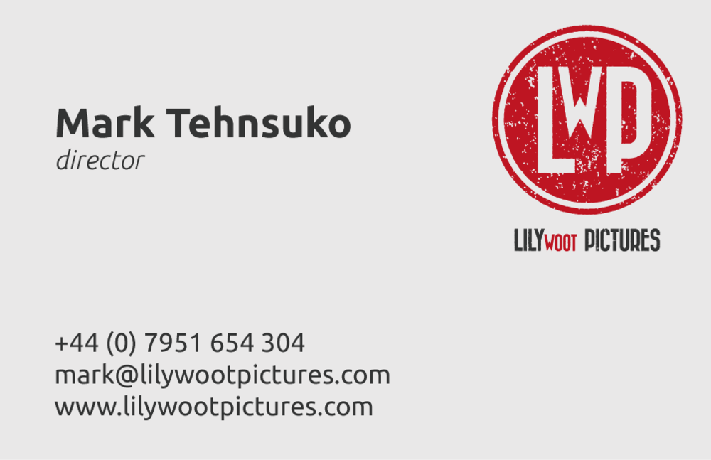 Then the business cards. Here on the right we see the vertical version of their logo with the main font, and the secondary complimentary font for the body text.