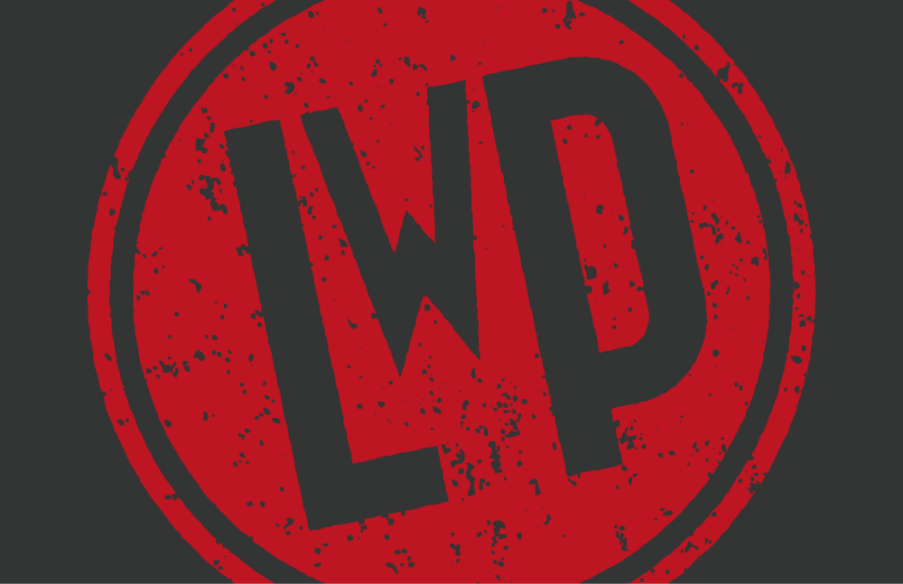 The reverse of the business card with a big, bold LwP logo.