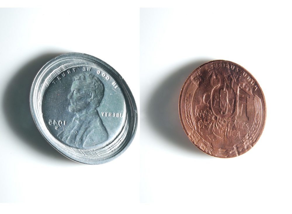 We Left Trace On Each Other (USD, JPY), 2013 Coins (1945 USD 1 Cent, Shōwa 20th 10 Sen)