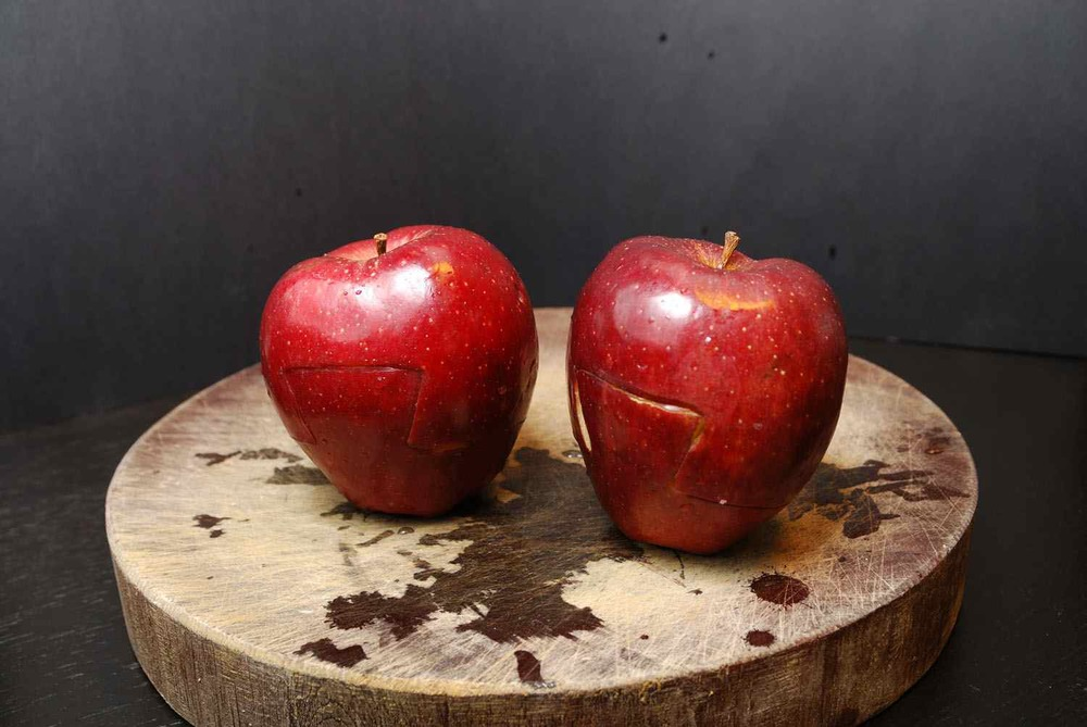 4. Two apples. Each cut into two parts.