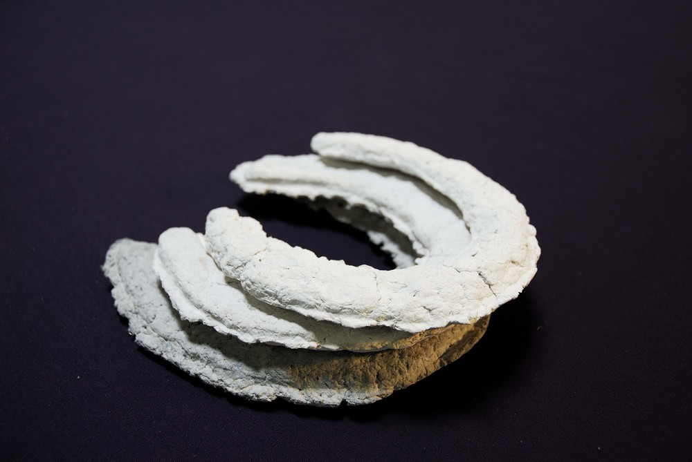 Engagements, monumental or otherwise     Monument plinths and horseshoes cast from shredded documents (military, financial, personal), Celluclay, plaster, clove oil, glue, RIT dye, ceramic powder, acrylic paint and gold dust. Dimensions variable.   2006 - 2008
