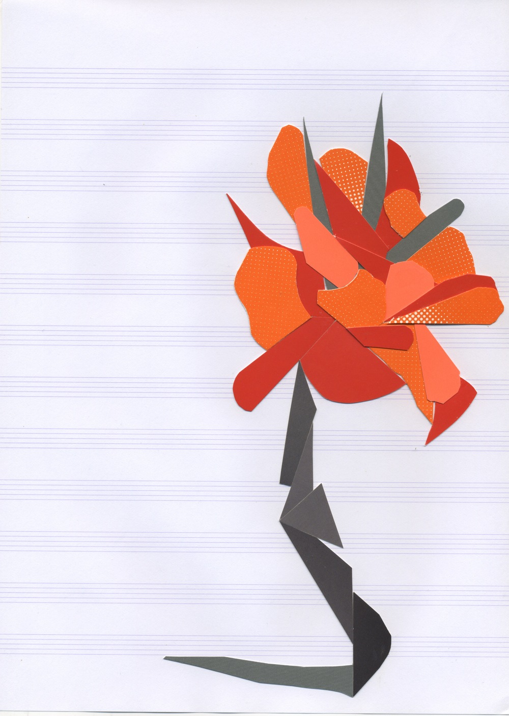 Autoportrait (as poppy), v. 8  Postcard stock on music paper 11.7 x 8.3 inches, 2011