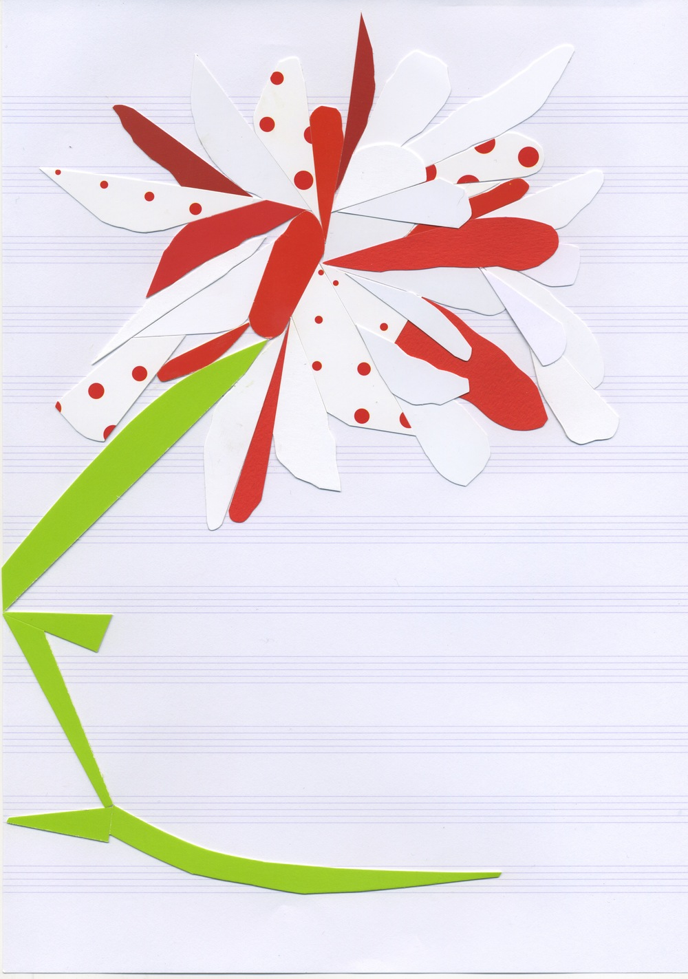 Autoportrait (as poppy), v. 1  Postcard stock on music paper 11.7 x 8.3 inches, 2011