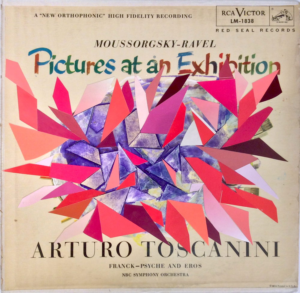 "Lisa Blas, Watercolor paper, card stock and acrylic paint on Arturo Toscanini ""Pictures at an Exhibition"" record cover, 12 x 12 inches, 2015, part of ""RIEN NE VA PLUS ! Pictures at an exhibition. Juan d'Oultremont"", Musée d'Ixelles, Brussels"