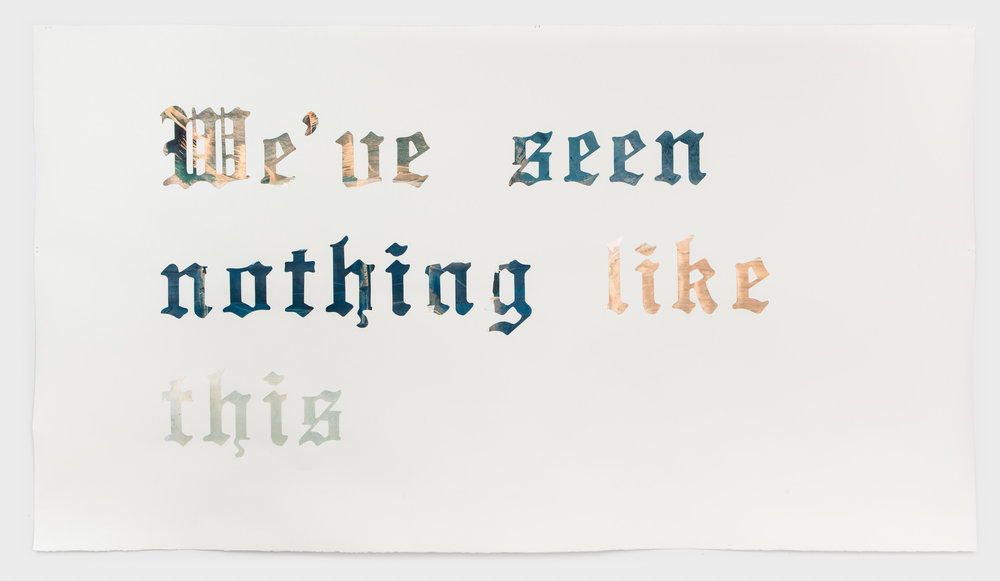 Headline, v. 4 (Baton Rouge) Acrylic, interference color and watercolor paper on Arches paper 51 x 90 inches, 2017