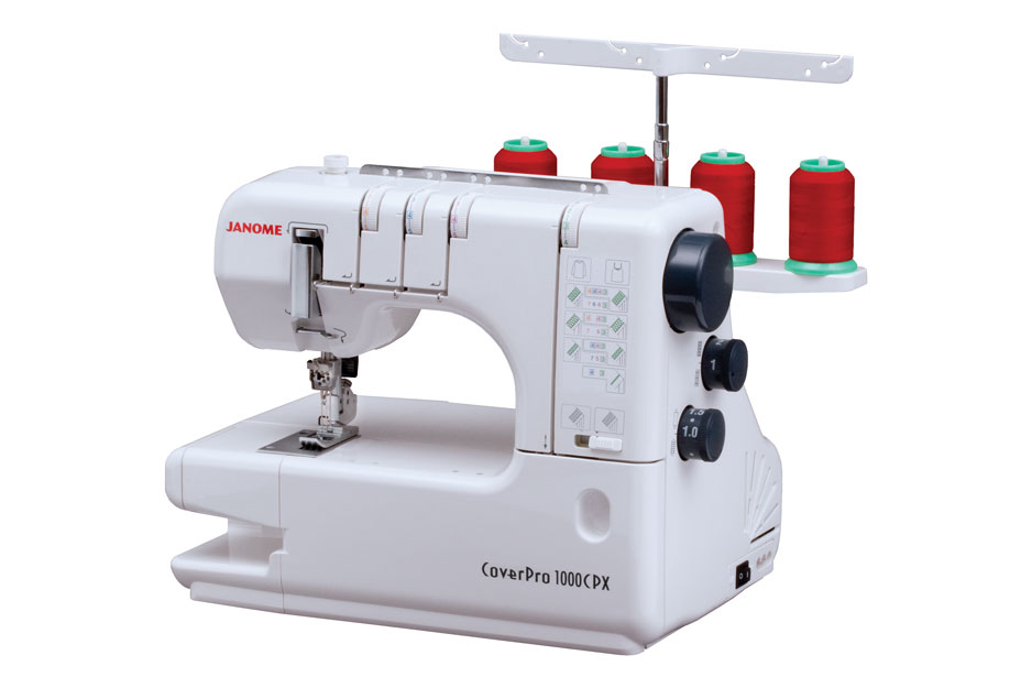 Janome 1000CPX  * 3 needle 4 thread triple cover stitch  * extra large bed  * quick reference sticker  * use 1, 2, 0r 3 needles