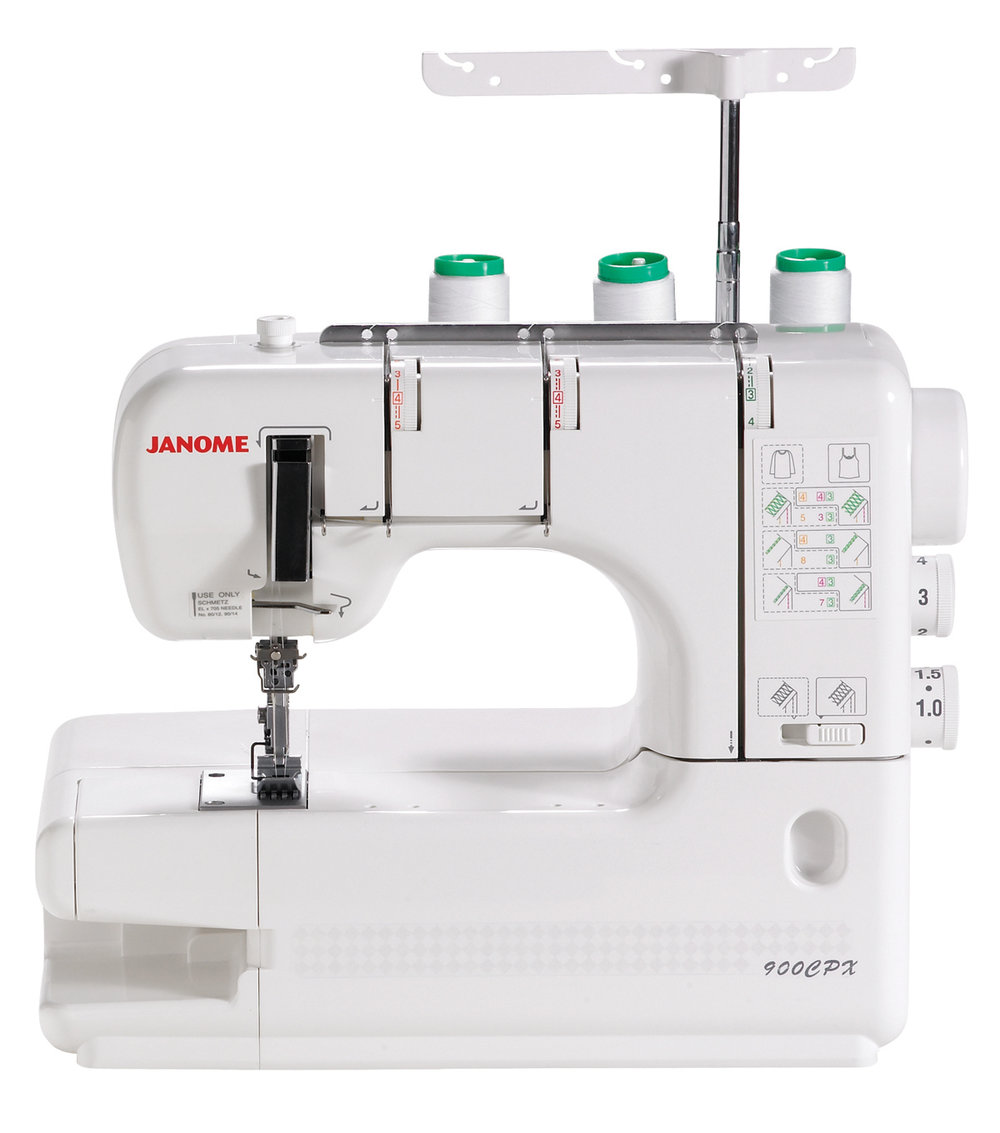 Janome 900CPX  * Seam tightening system  * Free Arm  * vertical Needle drop  * 2 needle 3 thread cover stitch