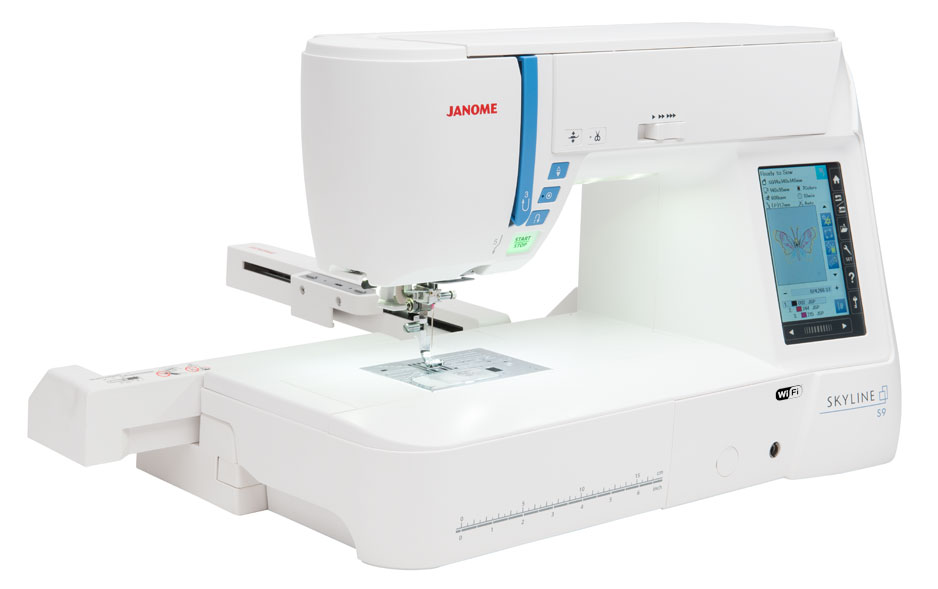Janome skyline s9 * 250 built-in embroidery designs including 40 exclusive designs by anna maria horner * 1,000 stitches per min * 20 fonts for monograming * cut work enabled * last stitch recall * 300 built-in stitches including 3 alphabet fonts * adjustable knee lift