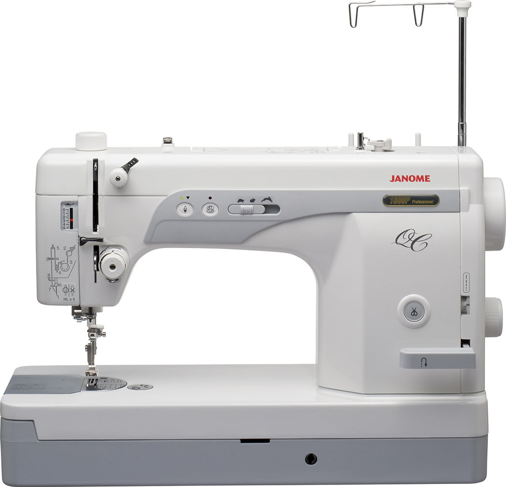 Janome 1600P-QC  * hi speed straight stitch only  * industrial HLx5 needle  * 1,600 stitches per min  * Darning plate included  * Automatic thread cutter  * vertical 2 spool thread delivery