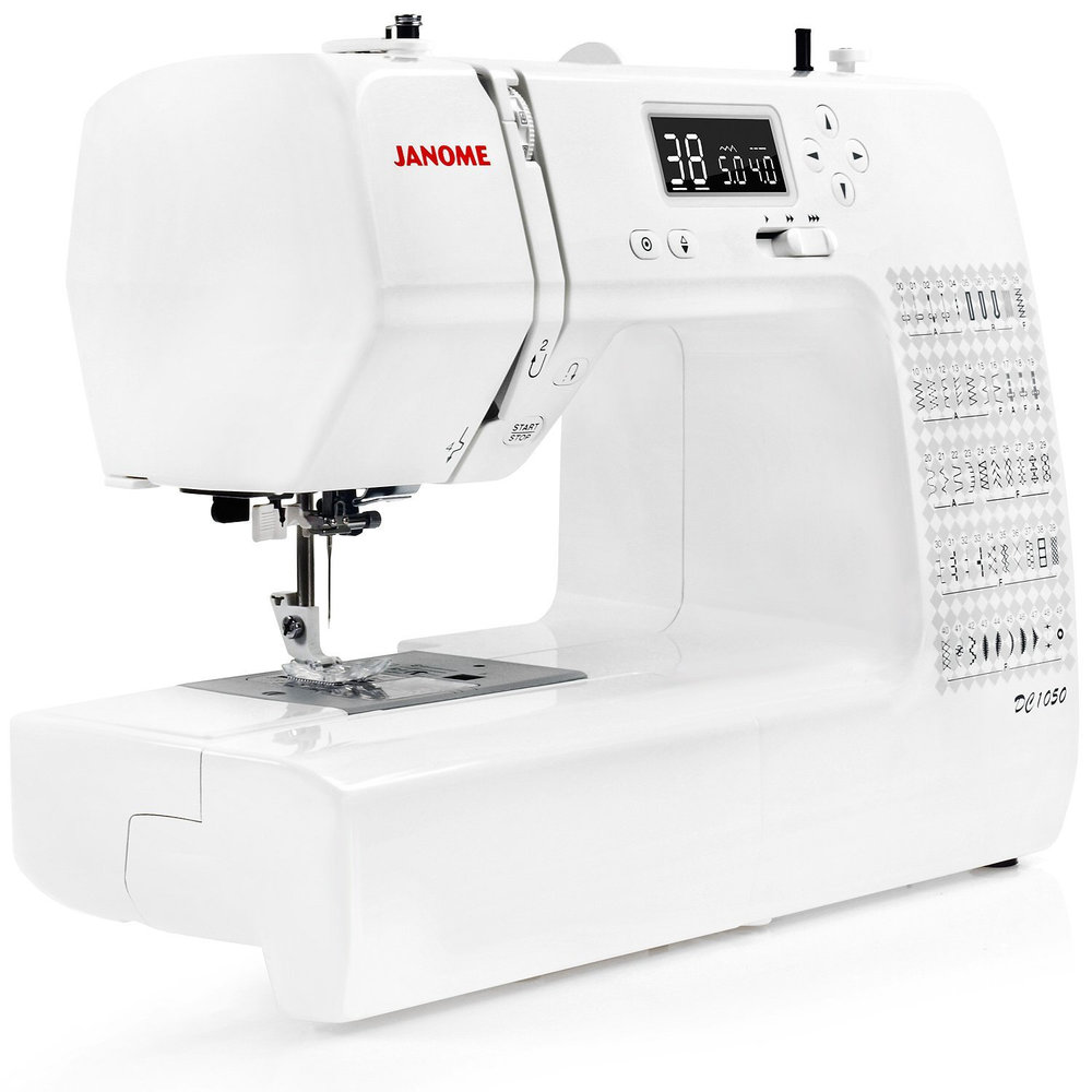 Janome DC1050  * 50 stitches  * Needle up/needle down button  * Jam proof horizontal rotary hook  * Free arm  * locking stitch button