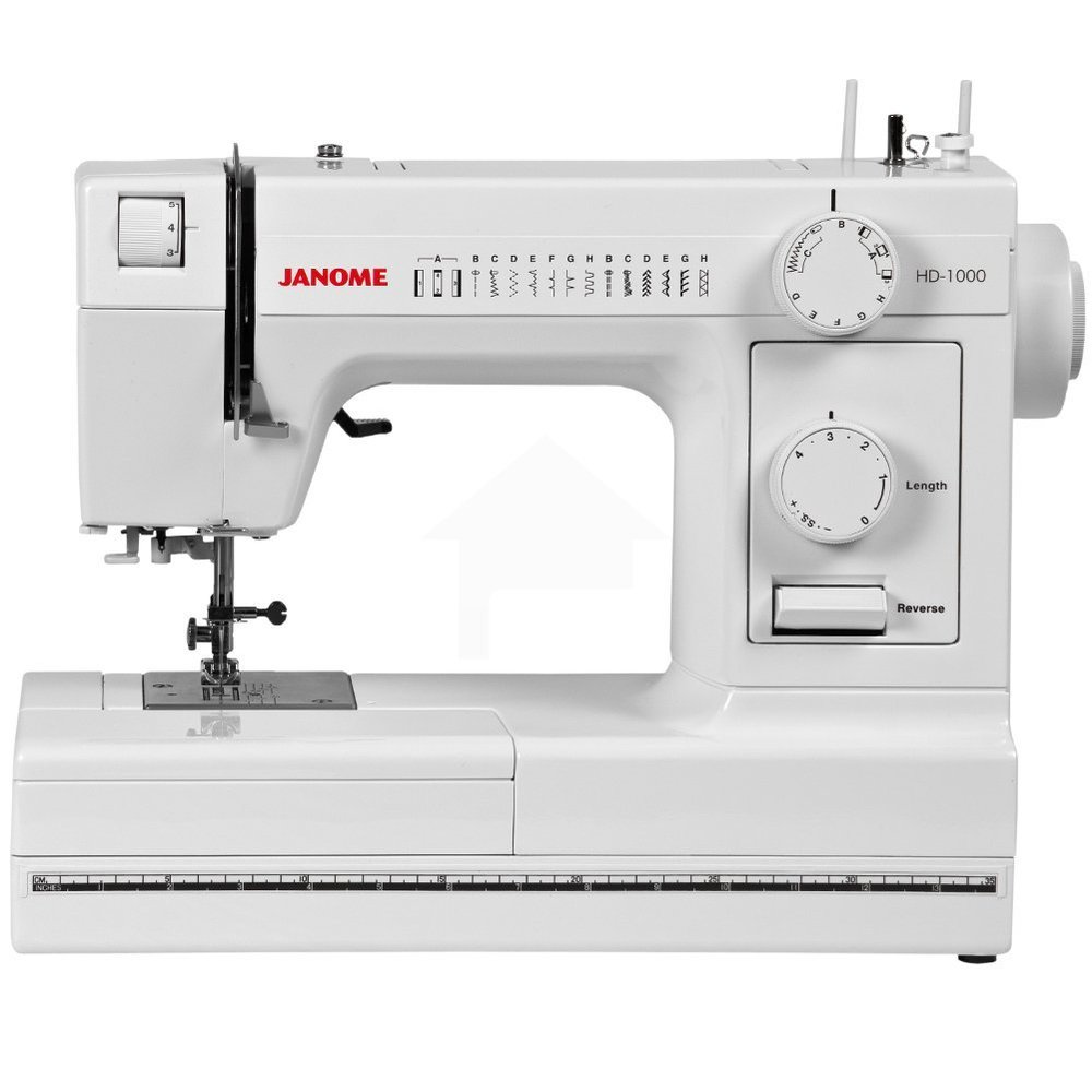 janome HD1000  * 14 stitches  * 4 step buttonhole  * needle threader  * snap on presser feet  * free arm