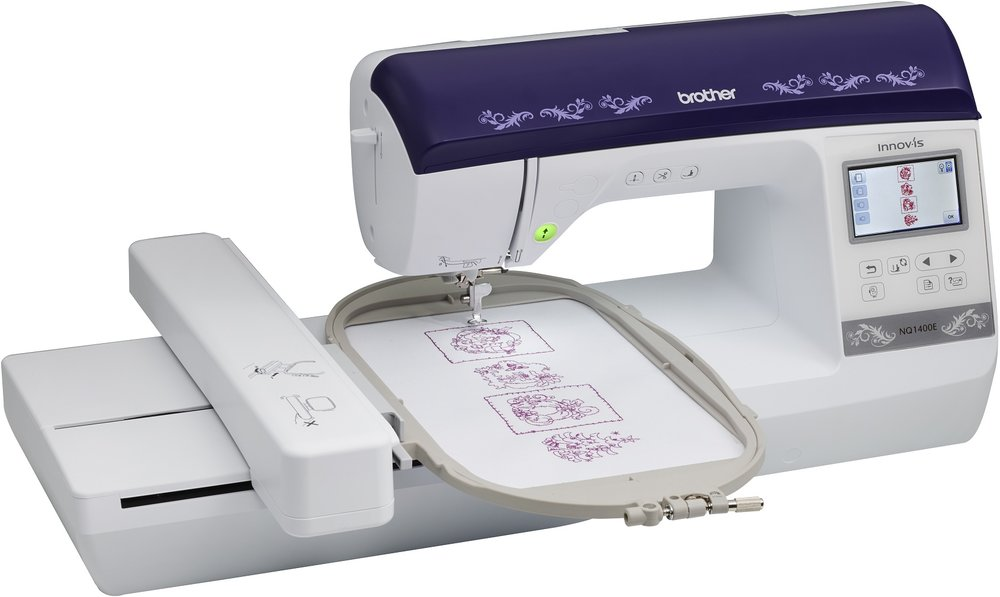 Brother NQ1400E * 138 built-in embroidery designs * built-in USB port * Zoom function * automated upper and lower thread cutter * resume function