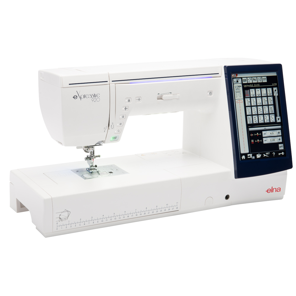 Elna Expressive 920 * LCD touch screen 800 x 480 pixels * independent upper feed system * Built-in fully automatic needle threader * 10 built-in LED lights in 5 different locations including one retractable * 400 built-in stitches * 91 needle positions