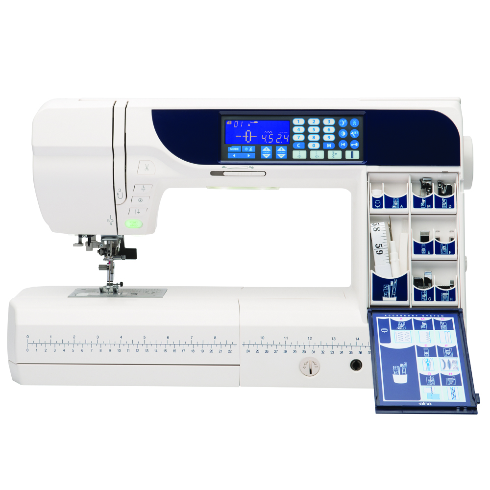 Elna 730 Pro * 170 built-in stitches * free arm / flatbed convertible * start/stop button * locking stitch button * built-in scissors * bobbin winding sensor