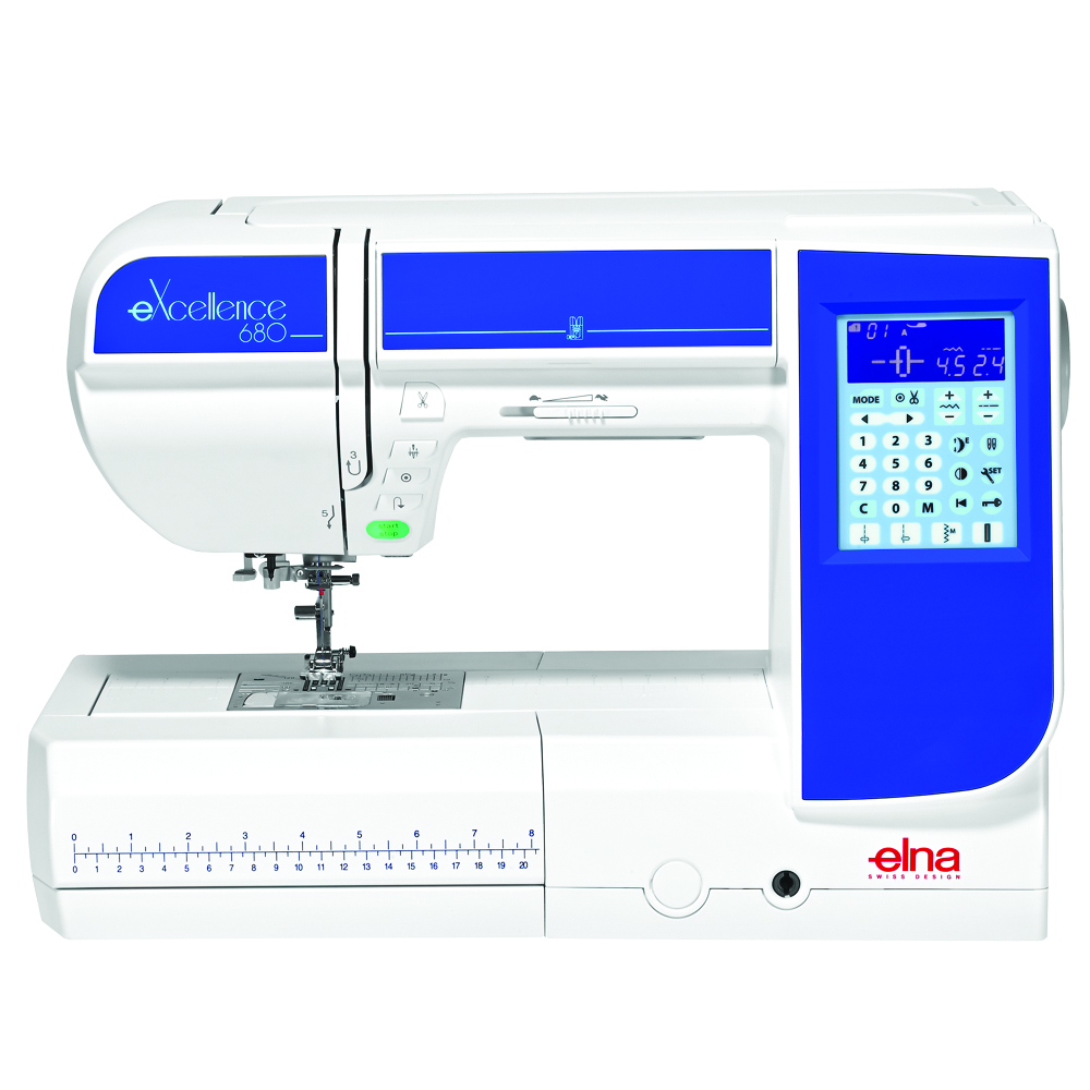 Elna excellence 680 * 170 built-in stitches * 91 needle positions * large transparent extension table * built-in needle threader * automatic thread cutter * speed control