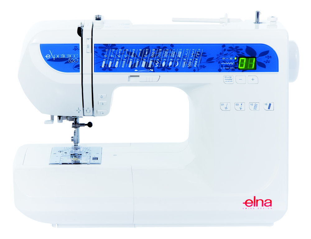Elna experience 520 * 30 built-in stitches * needle threader * speed control * Snap-On presser feet * reverse button