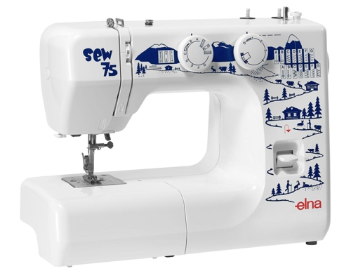 Elna Sew 75 * 15 built-in stitches * reverse lever * stitch width and length knobs * snap-on presser feet
