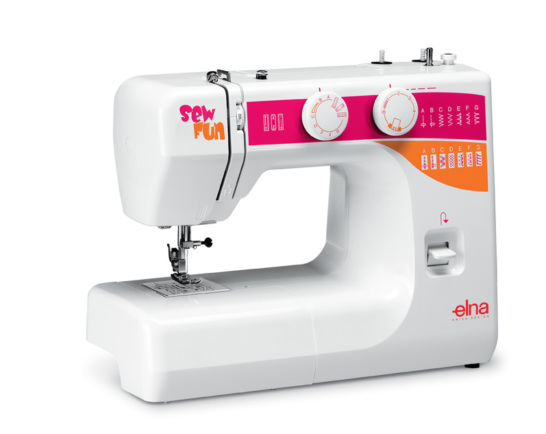 Elna Sew Fun * 15 built-in stitches * reverse lever * snap-on presser feet * 4 step buttonhole