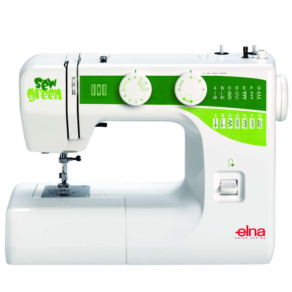 Elna Sew Green * 15 built-in stitches * reverse button * snap-on presser feet