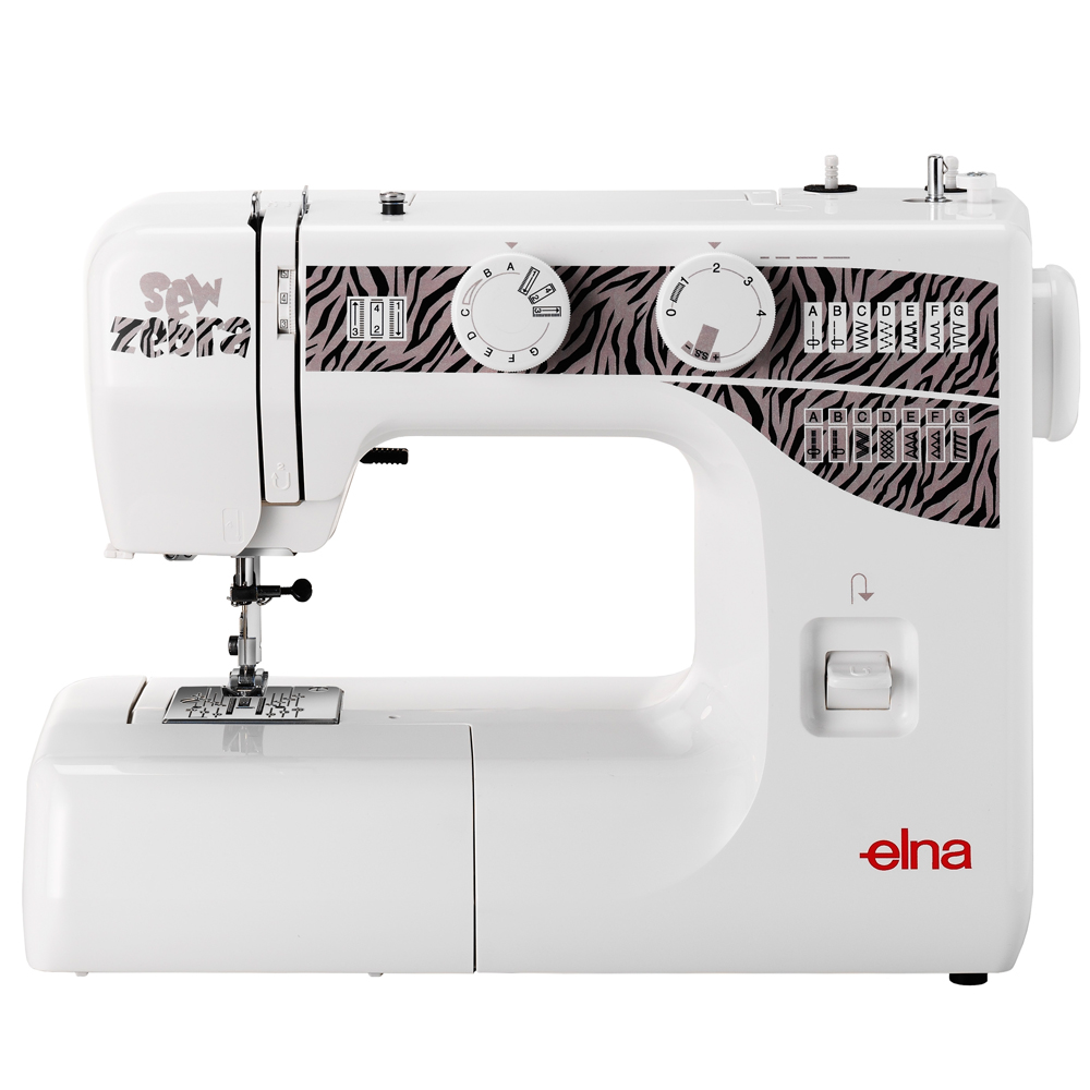 Elna Sew Zebra * 15 built-in stitches * Reverse lever * snap on presser feet