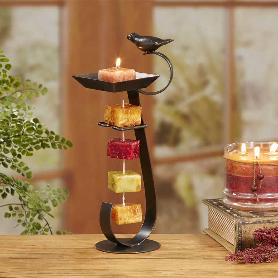 Bird bath tower candle rope holder