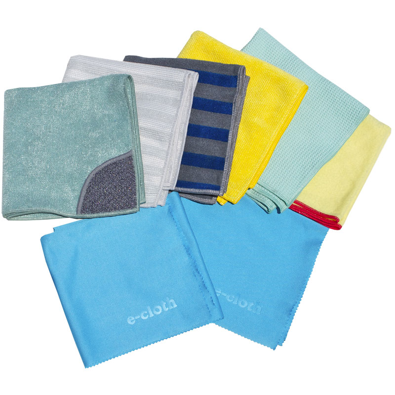 Home Cleaning 8 PC Set  1 Kitchen Cloth with scrubbing pocket  2 glass and polishing Cloths  1 bathroom cloth  1 window cloth   1 dusting cloth  1 range and Stove-top cloth  1 stainless steel cloth
