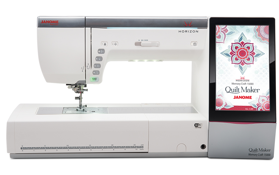 Janome MC15000  * 510 Built in stitches  * 480 built in embroidery designs  * independent bobbin winder motor  * programmable jump thread trimming  * LCD full color touch screening  * automatic enabling cutwork