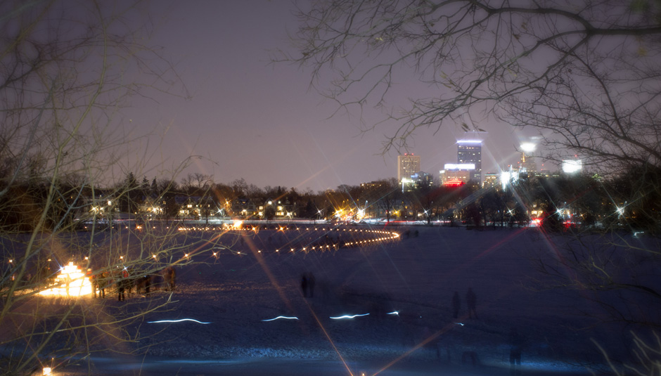 Photo is from the Luminary Loppet, a celebration of winter in Minnesota. Luminaries and glowing sculptures mark the course which traverses Minneapolis' lakes. Check out the event at www.loppet.org and plan to join us next winter for this beautiful event.