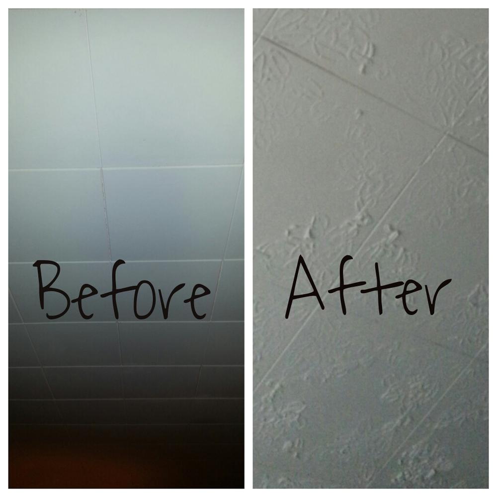 Transforming a 12 Square Tile Ceiling LaVintage Decor