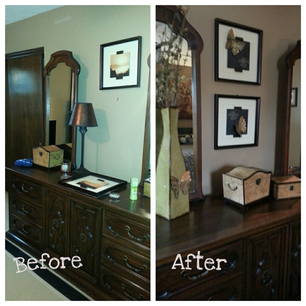 Existing pictures that were a perfect fit for the area between the dresser mirrors got a makeover in keeping with the butterfly inspiration of the picture over the bed.