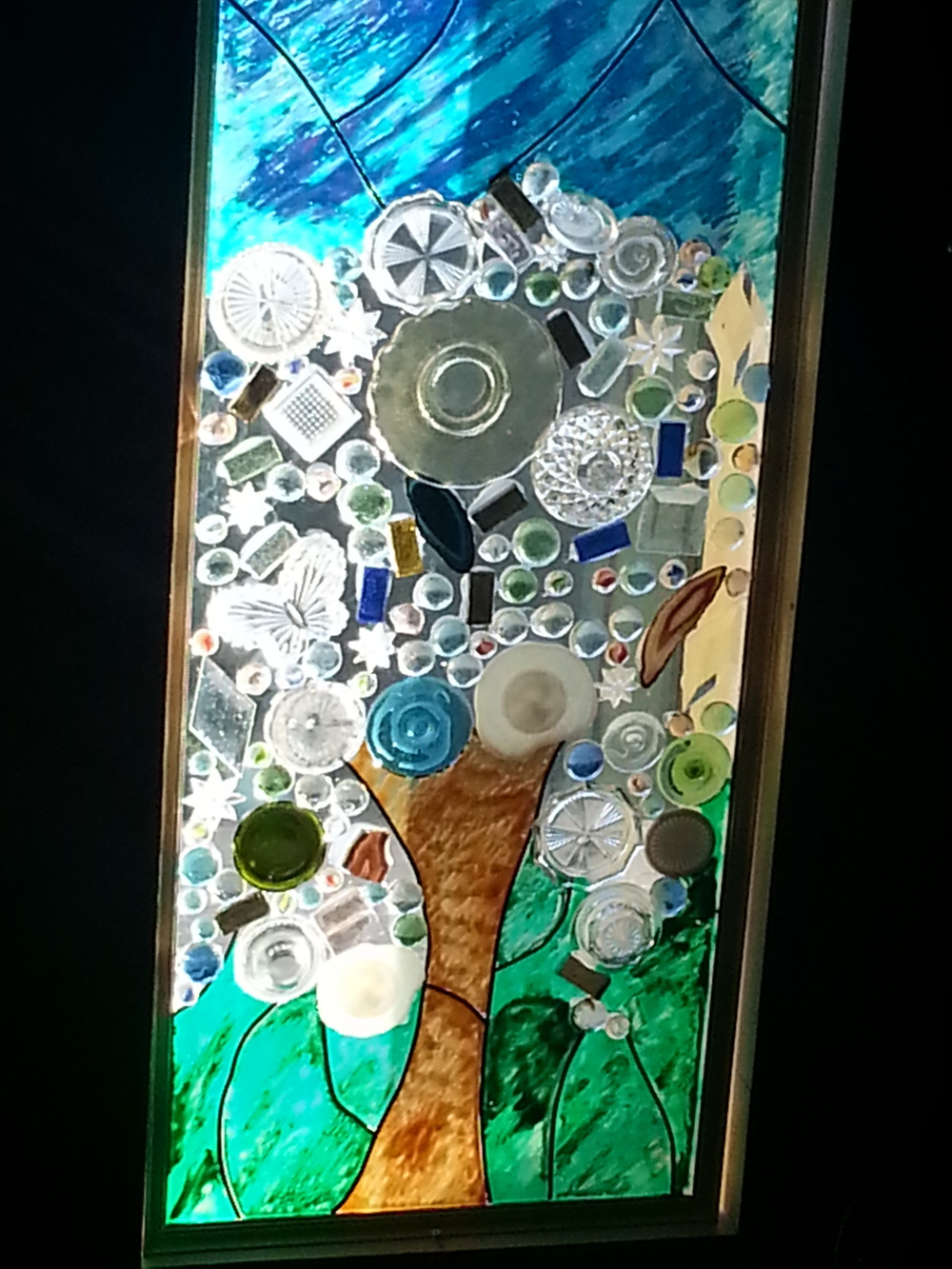 Finished Faux-Real Stained Glass Hall Tree
