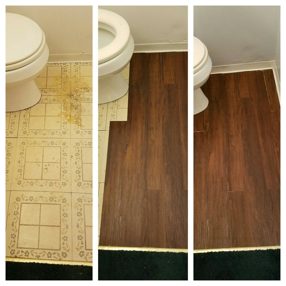 Before, during and after.  The previous homeowner started to lay a new floor and stopped, leaving dried adhesive on the floor.  A new quality, textured vinyl plank floor was installed.  Any small gaps in the flooring were later concealed with Dixie Belle Swamp Mud and Tobacco Road Gel Stain.