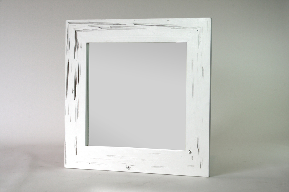 small square mirror - white gloss