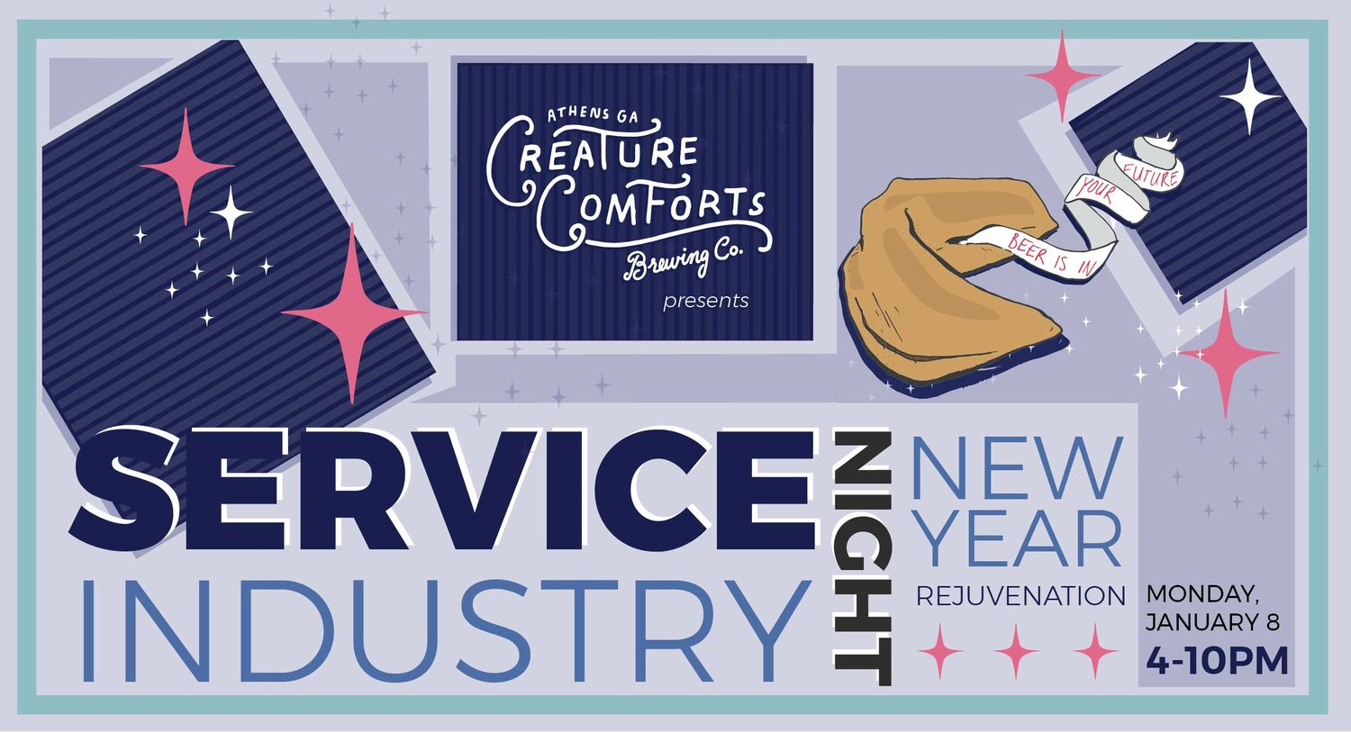 service industry night new year rejuvenation creature comforts brewing co