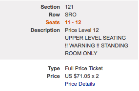 If a friend and I spend $142.10 to watch the Golden State Warriors play the New York Knicks in Oakland, we should get seats on the bench not in fucking  standing room only .
